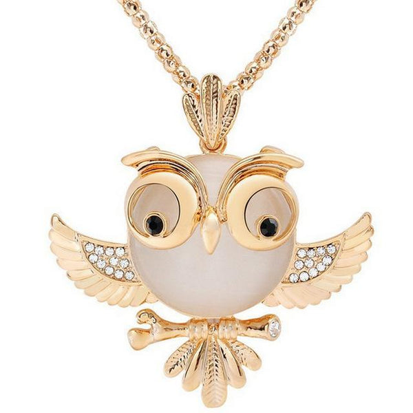 PINkart-USA 15 Lnrrabc Women Sweater Chain Necklace Owl Design Rhinestones Crystal Pendant Necklaces Jewelry