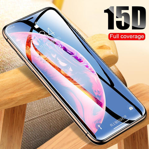 PINkart-USA 15D Protective Glass On The For Iphone X Xs Max Xr Tempered Screen Protector Film Full Cover