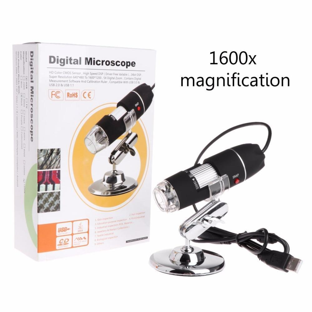 PINkart-USA 1600X 2Mp Zoom Microscope 8 Led Usb Digital Handheld Magnifier Endoscope Camera