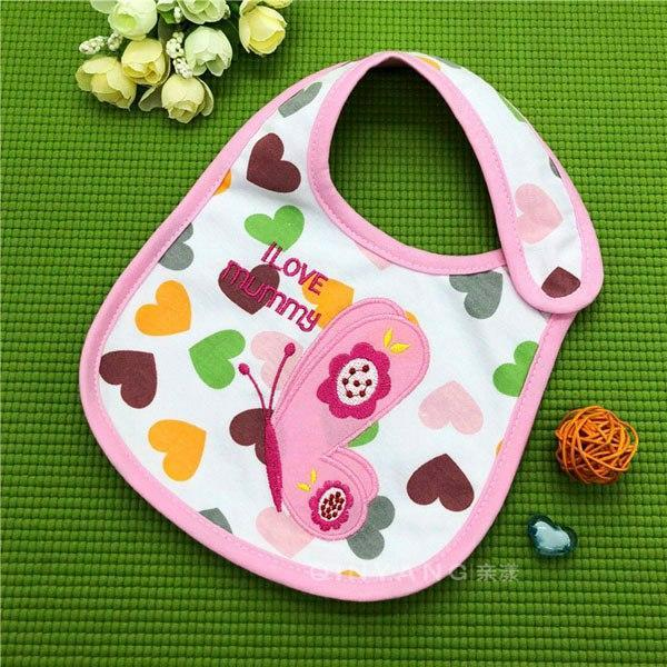 PINkart-USA 17 Baby Cotton Waterproof Bibs Lovely Butterfly Burp Cloth For Girls Sweet Birds Saliva Towels