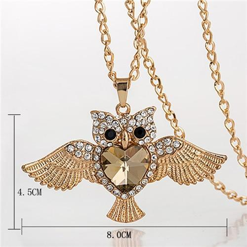 PINkart-USA 18 Lnrrabc Women Sweater Chain Necklace Owl Design Rhinestones Crystal Pendant Necklaces Jewelry