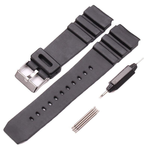 PINkart-USA 18Mm 20Mm 22Mm Watchband Black Rubber Sport Wrist Men Silicone Military Diving Watch Strap Band For