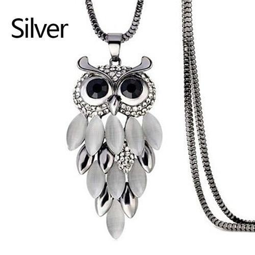 PINkart-USA 19 Lnrrabc Women Sweater Chain Necklace Owl Design Rhinestones Crystal Pendant Necklaces Jewelry