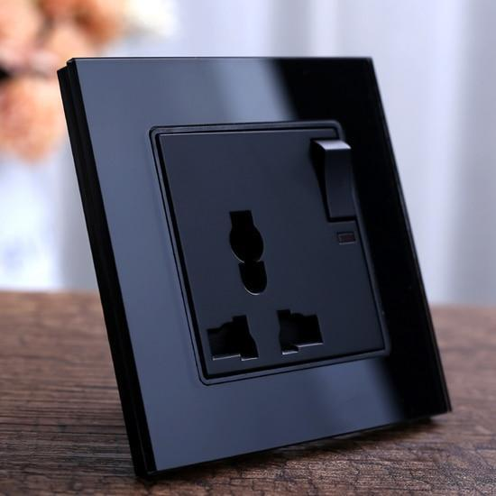 PINkart-USA 1gang 3pins (black) Black Crystal Glass Panel Wall Power Outlet Plug Uk Standard Socket 1Gang 1Way Push Button Switch