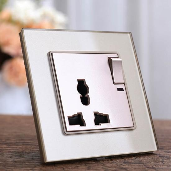 PINkart-USA 1gang 3pins (gold) Black Crystal Glass Panel Wall Power Outlet Plug Uk Standard Socket 1Gang 1Way Push Button Switch