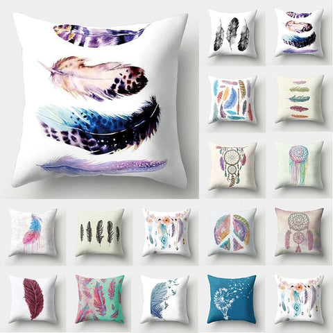 PINkart-USA 1Pcs Feather Dream Catcher Pattern Polyester Throw Pillow Cushion Cover Car Home Decoration Sofa