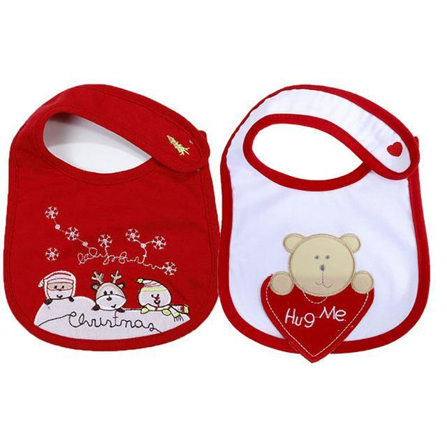 PINkart-USA 2 2Pcs/Lot Baby Christmas Cotton Bibs Born Girls Boys Cartoon Santa Claus Saliva Towel Toddler