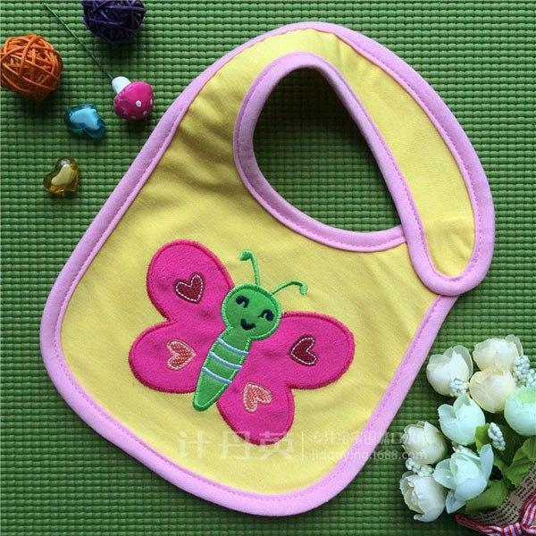 PINkart-USA 2 Baby Cotton Waterproof Bibs Lovely Butterfly Burp Cloth For Girls Sweet Birds Saliva Towels