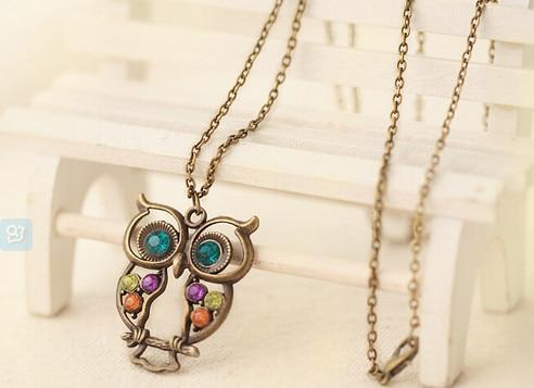 PINkart-USA 22 Lnrrabc Women Sweater Chain Necklace Owl Design Rhinestones Crystal Pendant Necklaces Jewelry