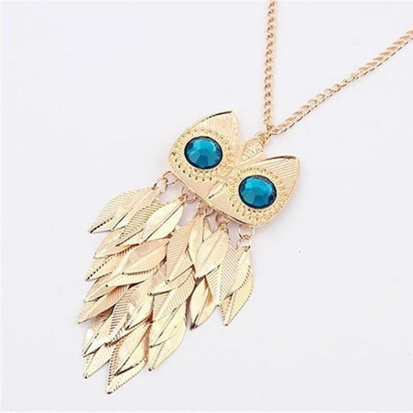 PINkart-USA 23 Lnrrabc Women Sweater Chain Necklace Owl Design Rhinestones Crystal Pendant Necklaces Jewelry