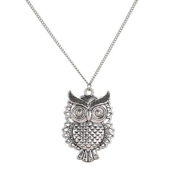 PINkart-USA 24 Lnrrabc Women Sweater Chain Necklace Owl Design Rhinestones Crystal Pendant Necklaces Jewelry