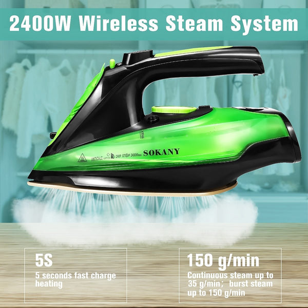 PINkart-USA 2400W Steam Iron 5 Speed Adjust Cordless Wireless Charging Portable Clothes Ironing Steamer