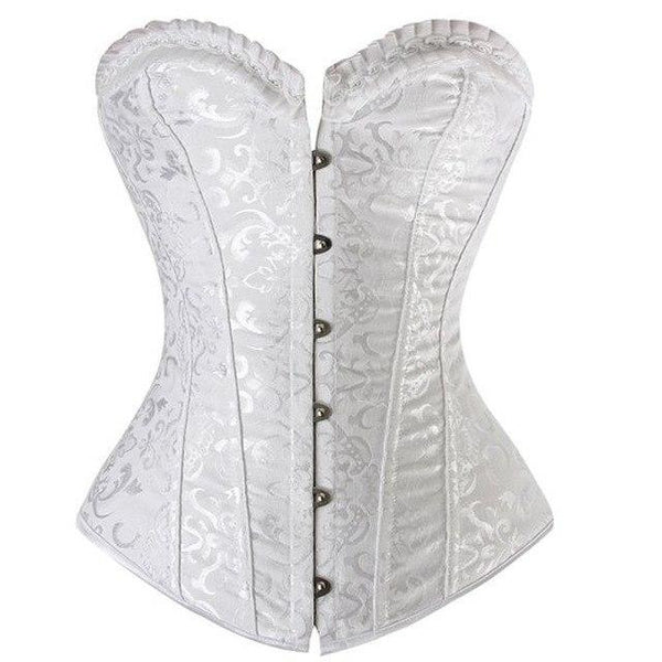 PINkart-USA 2615 white / XXL Steampunk Steel Boned Pvc Leather Back Sexy Body Bustier Overbust Corset Women Waist Cincher