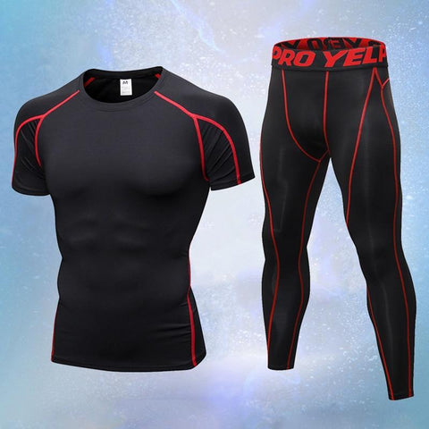 PINkart-USA 2Pcs Compression Quick Dry Tight Tracksuit Men Training Fitness Short Sleeve Shirt And Long Pants