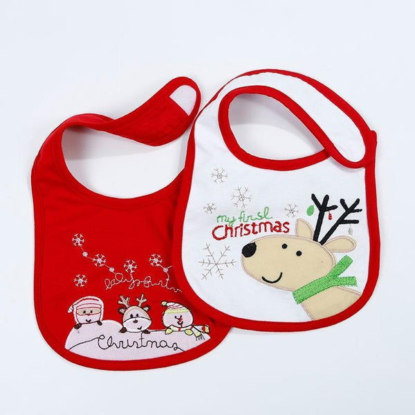 PINkart-USA 2Pcs/Lot Baby Christmas Cotton Bibs Born Girls Boys Cartoon Santa Claus Saliva Towel Toddler