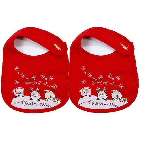 PINkart-USA 3 2Pcs/Lot Baby Christmas Cotton Bibs Born Girls Boys Cartoon Santa Claus Saliva Towel Toddler