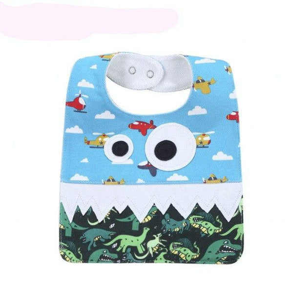PINkart-USA 3 Big Eye Monster With Cute Teeth Design Baby Bibs Soft Infant Saliva Towel Toddler Absorbent Bandana