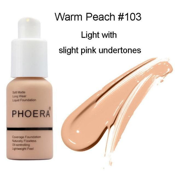 PINkart-USA 3 Phoera Makeup Coverage Soft Matte Long Wear Foundation Liquid Face Foundation Natural