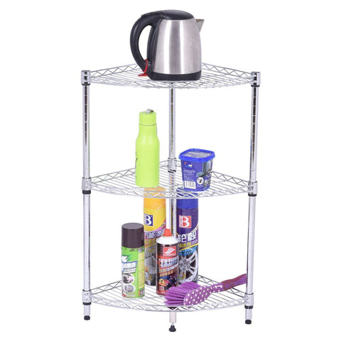 PINkart-USA 3 Tier Coner Shelf Bathroom Storage Rack Home Office Kitchen Organizer Modern Steel Sector Floor