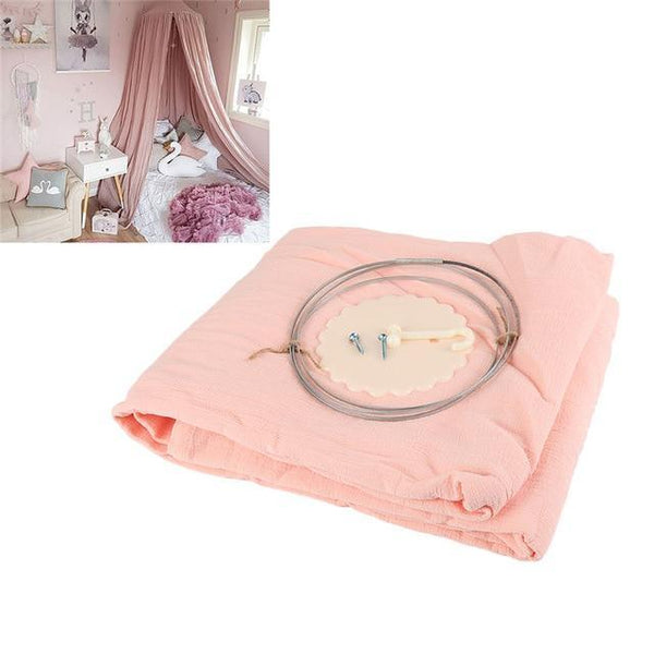 PINkart-USA 3 White Grey Pink Beige Boys Girls Kids Princess Canopy Bed Valance Kids Room Decoration Baby Bed