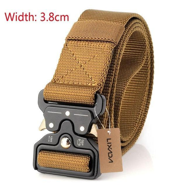 PINkart-USA 38mm brown Tactical Belts Nylon Military Waist Belt With Metal Buckle Adjustable Heavy Duty Training Waist
