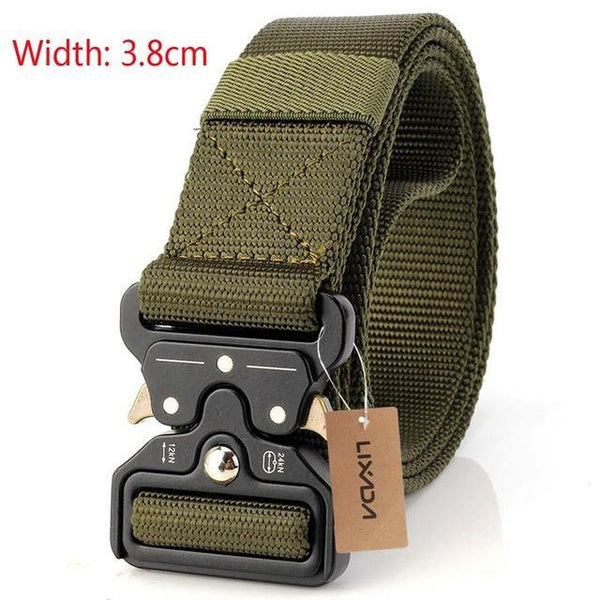 PINkart-USA 38mm dark green Tactical Belts Nylon Military Waist Belt With Metal Buckle Adjustable Heavy Duty Training Waist
