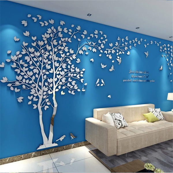 PINkart-USA 3D Tree Acrylic Mirror Wall Sticker Decals Diy Art Tv Background Wall Poster Bedroom Living Room