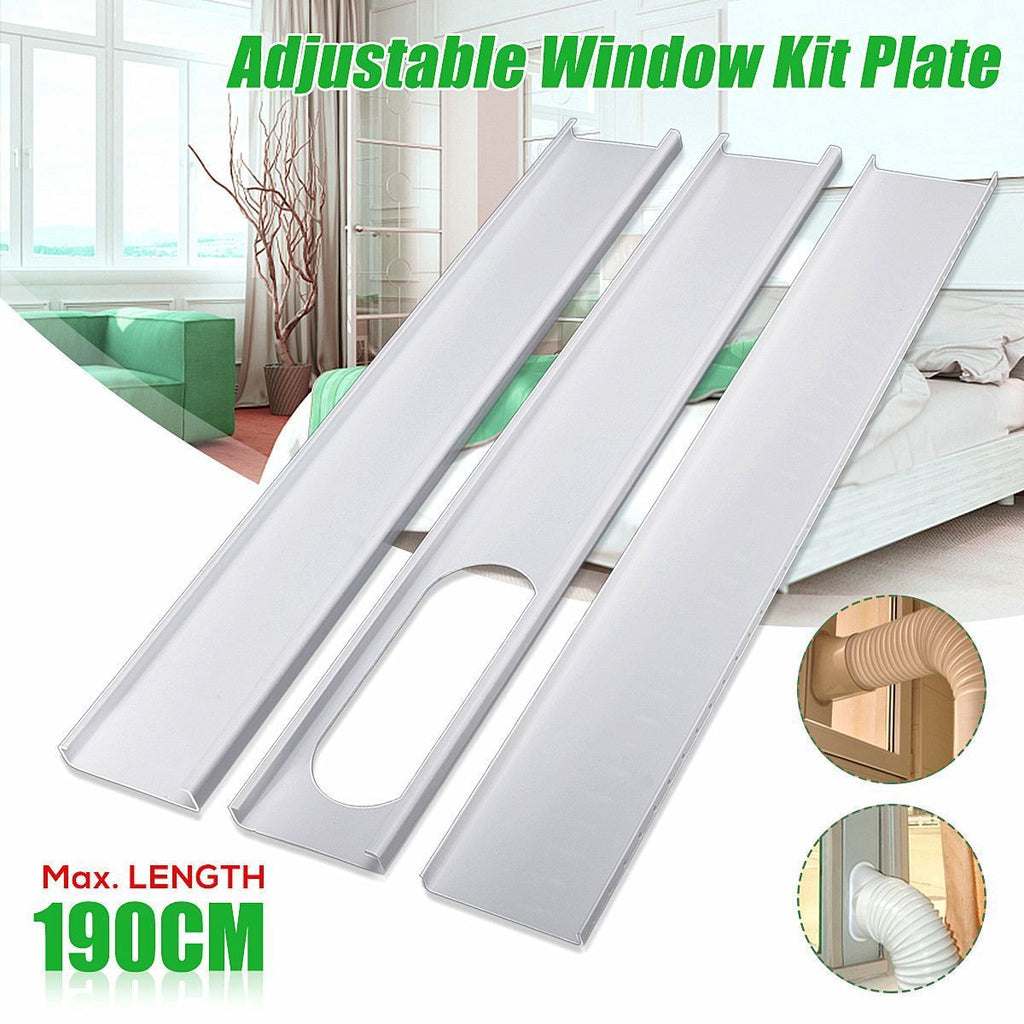 3Pcs Adjustable 190Cm Air Conditioner Window Slide Pvc Plate Exhaust Hose Tube Connector Kit For