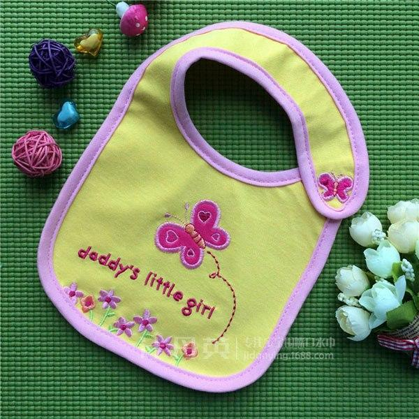 PINkart-USA 4 Baby Cotton Waterproof Bibs Lovely Butterfly Burp Cloth For Girls Sweet Birds Saliva Towels