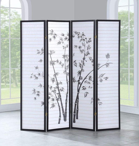 "PINkart-USA 4 Panel Room Divider Folding Privacy Shoji Screen Print Bamboo 68.5""Wx70""H Home Furniture Hw58841"