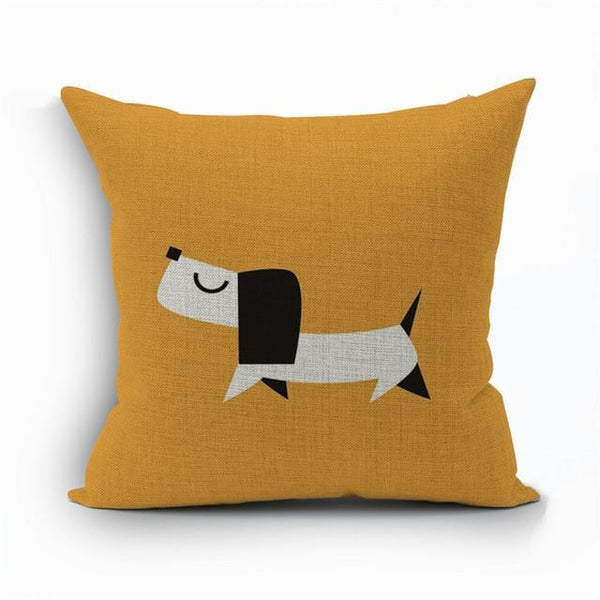 PINkart-USA 450mm*450mm / 1 2018Linen Animals Pillows Coversn Covers Color Dachshund Throw Pillows Cases Rainbow Sausage Dogs