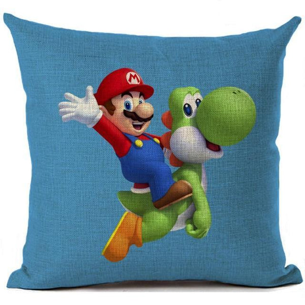 PINkart-USA 450mm*450mm / 1 Super Mario Cushion Cover Linen Cartoon Mario Printed Throw Pillow Cover Sofa Car Covers Home