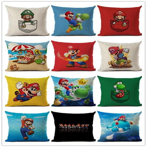 PINkart-USA 450mm*450mm / 10 Super Mario Cushion Cover Linen Cartoon Mario Printed Throw Pillow Cover Sofa Car Covers Home