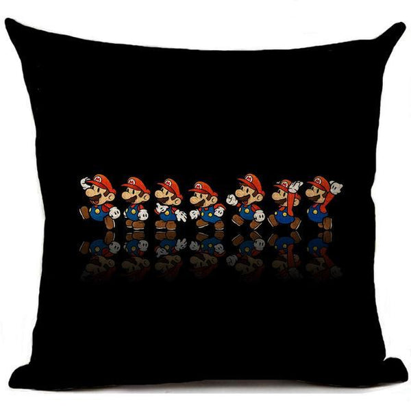 PINkart-USA 450mm*450mm / 11 Super Mario Cushion Cover Linen Cartoon Mario Printed Throw Pillow Cover Sofa Car Covers Home