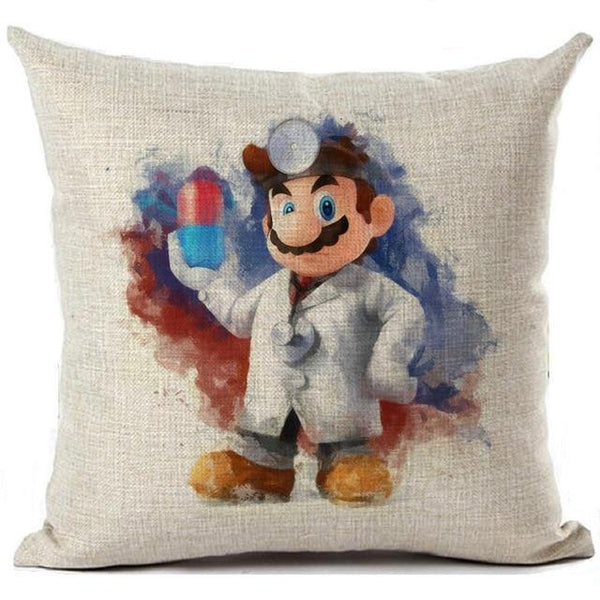 PINkart-USA 450mm*450mm / 12 Super Mario Cushion Cover Linen Cartoon Mario Printed Throw Pillow Cover Sofa Car Covers Home