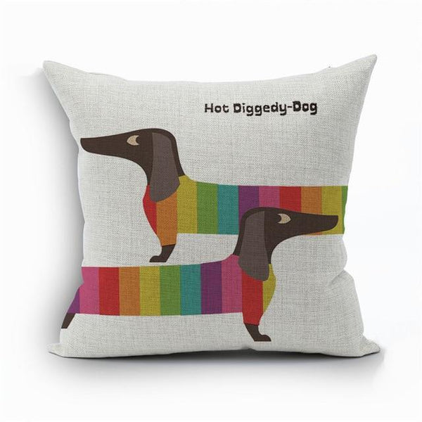 PINkart-USA 450mm*450mm / 14 2018Linen Animals Pillows Coversn Covers Color Dachshund Throw Pillows Cases Rainbow Sausage Dogs