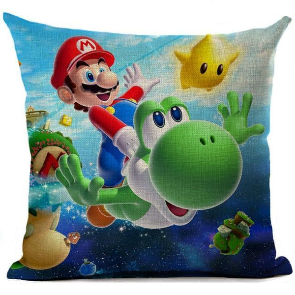Super Mario Cushion Cover Linen Cartoon Mario Printed Throw Pillow Cover Sofa Car Covers Home