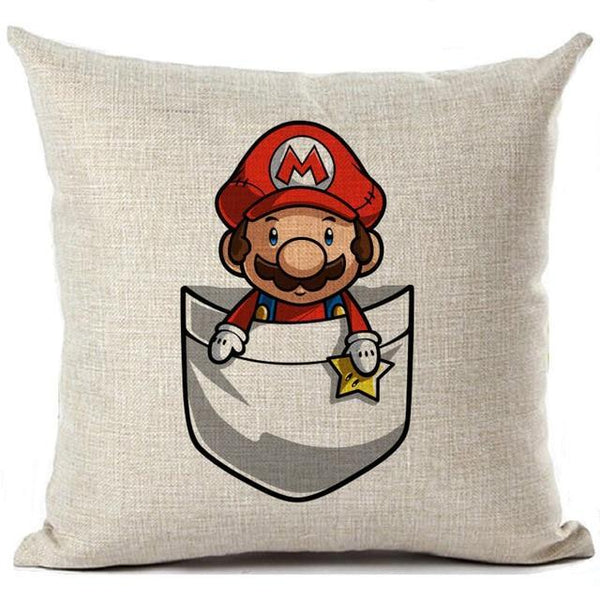 PINkart-USA 450mm*450mm / 16 Super Mario Cushion Cover Linen Cartoon Mario Printed Throw Pillow Cover Sofa Car Covers Home