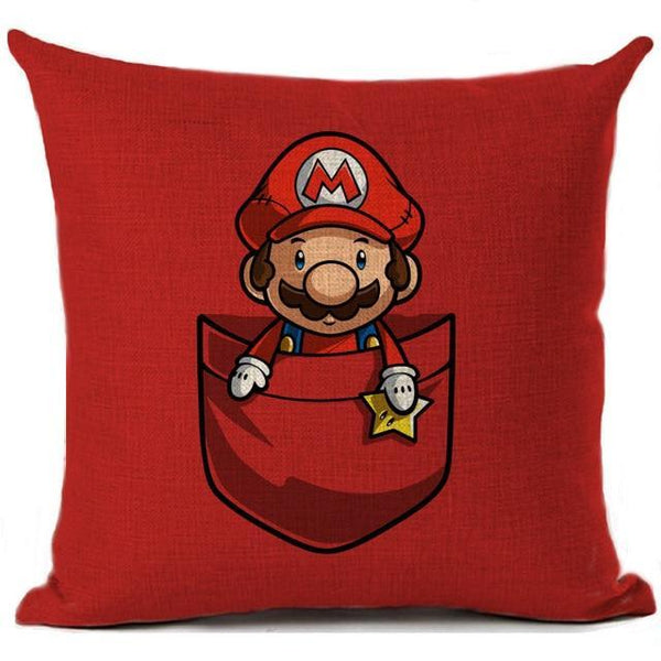 PINkart-USA 450mm*450mm / 2 Super Mario Cushion Cover Linen Cartoon Mario Printed Throw Pillow Cover Sofa Car Covers Home