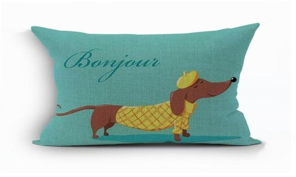 PINkart-USA 450mm*450mm / 20 2018Linen Animals Pillows Coversn Covers Color Dachshund Throw Pillows Cases Rainbow Sausage Dogs
