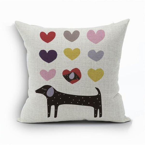 PINkart-USA 450mm*450mm / 3 2018Linen Animals Pillows Coversn Covers Color Dachshund Throw Pillows Cases Rainbow Sausage Dogs