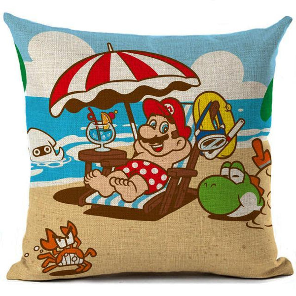 PINkart-USA 450mm*450mm / 3 Super Mario Cushion Cover Linen Cartoon Mario Printed Throw Pillow Cover Sofa Car Covers Home