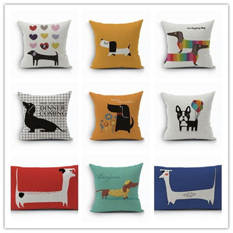 PINkart-USA 450mm*450mm / 4 2018Linen Animals Pillows Coversn Covers Color Dachshund Throw Pillows Cases Rainbow Sausage Dogs