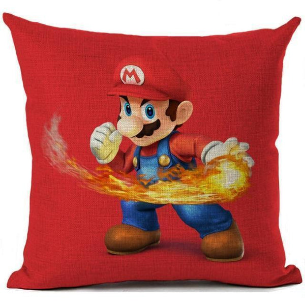 PINkart-USA 450mm*450mm / 4 Super Mario Cushion Cover Linen Cartoon Mario Printed Throw Pillow Cover Sofa Car Covers Home