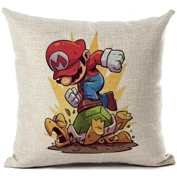 PINkart-USA 450mm*450mm / 5 Super Mario Cushion Cover Linen Cartoon Mario Printed Throw Pillow Cover Sofa Car Covers Home