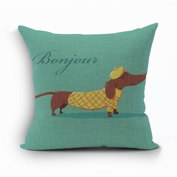 PINkart-USA 450mm*450mm / 6 2018Linen Animals Pillows Coversn Covers Color Dachshund Throw Pillows Cases Rainbow Sausage Dogs