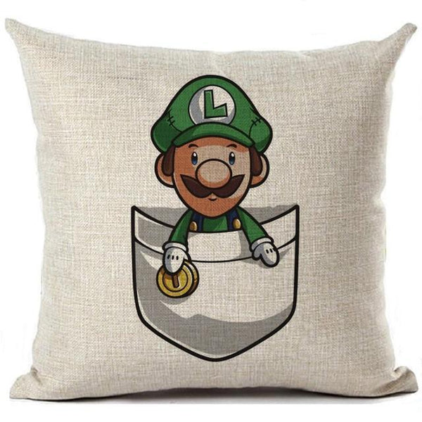 PINkart-USA 450mm*450mm / 6 Super Mario Cushion Cover Linen Cartoon Mario Printed Throw Pillow Cover Sofa Car Covers Home