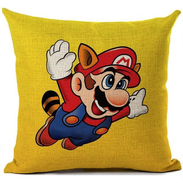 PINkart-USA 450mm*450mm / 7 Super Mario Cushion Cover Linen Cartoon Mario Printed Throw Pillow Cover Sofa Car Covers Home