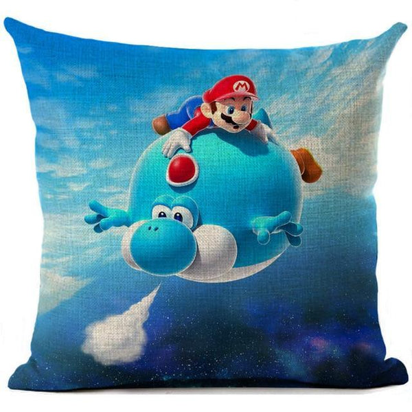 PINkart-USA 450mm*450mm / 8 Super Mario Cushion Cover Linen Cartoon Mario Printed Throw Pillow Cover Sofa Car Covers Home