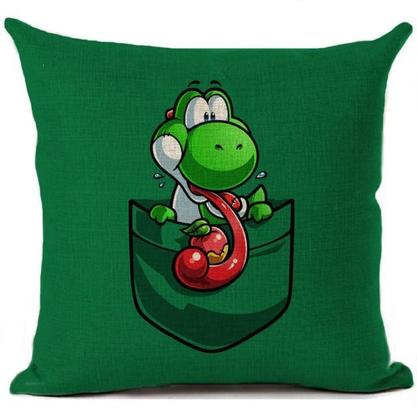 PINkart-USA 450mm*450mm / 9 Super Mario Cushion Cover Linen Cartoon Mario Printed Throw Pillow Cover Sofa Car Covers Home